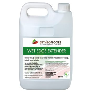 ENVIRO FLOORS WET EDGE EXTENDER increases the working time of the waterborne coating creating a finer finish.